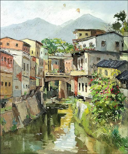 陳琪華油畫創作,記錄台灣之美。(大墩文化中心提供)