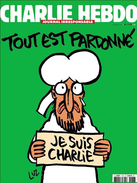 法國《查理週刊》遇襲後首次出刊,十四日出刊的最新一期被稱為「劫後餘生版」,封面為哭泣的伊斯蘭先知穆罕默德肖像,手拿「我是查理」標語,封面標題為「一切都被寬恕」。(歐新社)