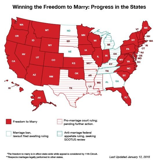 紅色區域為美國通過同性婚姻法案的州,更新日期為2015年1月12日。(圖擷自Freedom to Marry官網)