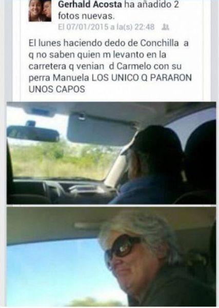 烏拉圭一名男子在臉書上分享攔搭便車經歷,攔車竟攔到總統座車。(圖擷取自《infobae》網站)