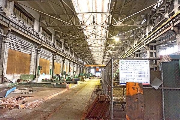 台北機廠內的組立工場,為全區主要修復工場,已被指定為古蹟。(本報資料照)