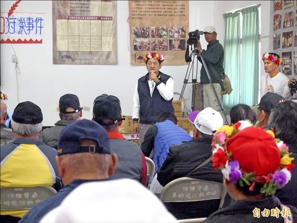 「巴布麓」部落獵人遭警追緝,致使大獵祭中斷,台東市寶桑里長潘調志怒斥警方羅織罪名,侵害原民文化權。(記者陳賢義攝)