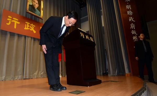 九合一大選國民黨慘敗,行政院長江宜樺當日晚間宣布請辭。(資料照,記者羅沛德攝)