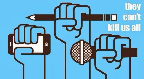 香港在中國「一國兩制」之下的矛盾,新聞自由受到嚴峻的考驗,多次引發香港大遊行以及在臉書上串連行動,以「They can't kill us all」來表達對當局打壓的憤怒。(圖擷自網路)
