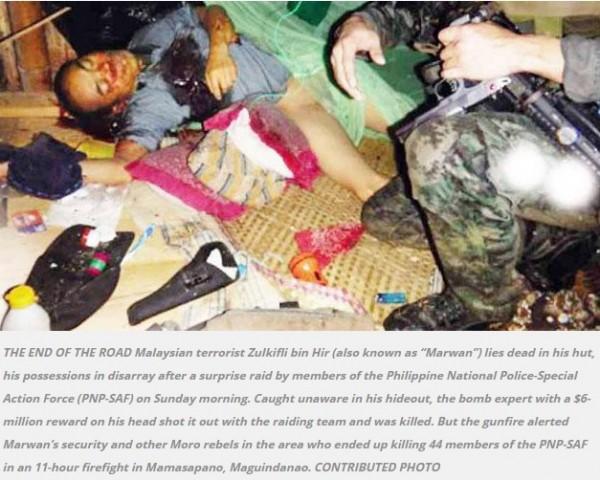 菲律賓媒體今天刊登照片,證明化名為馬勒望的東南亞恐怖份子祖基夫里已遭菲律賓警方擊斃。(圖擷取自INQUIRER.net)