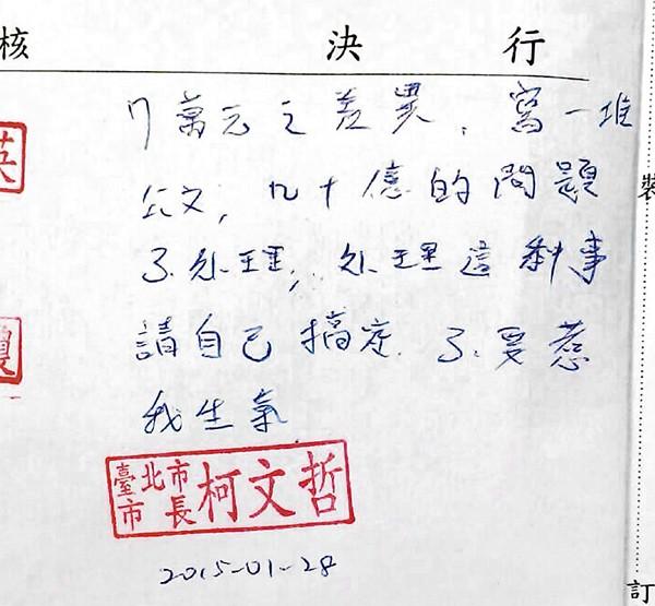 台北市長柯文哲「不要惹我生氣」公文在網路上流傳。(圖翻攝自網路)