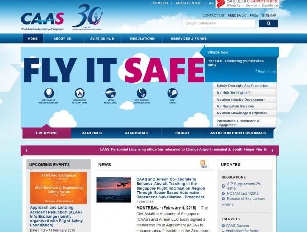 新加坡民航局與美國合資企業Aireon LLC發表共同聲明,表示將引進追蹤器,利用衛星追蹤飛機位置,且每15分鐘自動回報。(圖片擷取自新加坡民航局官網)