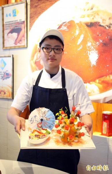 吳亭萱將建築美學運用在擺盤裝飾,讓食物更色香味俱全。(記者洪臣宏攝)