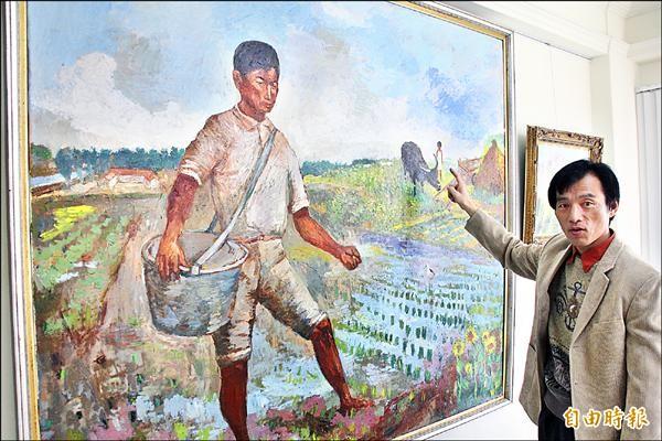 莊玉明出身農家,以父親下田為主題作畫。(記者林宜樟攝)