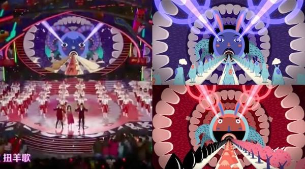 中國湖南衛視春晚節目開場舞《扭羊歌》(左),被爆抄襲泰國設計師Panop的畢業動畫作品(右),相似度極高,僅把兔子耳朵換成羊角。(圖擷自Panop Koonwat臉書專頁)
