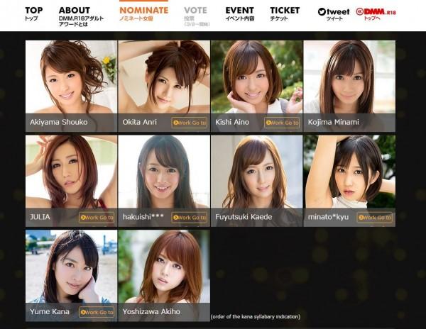 日本知名網站將進行2015最強女優票選,名單也在最近公布。(圖擷取自DMM.com)