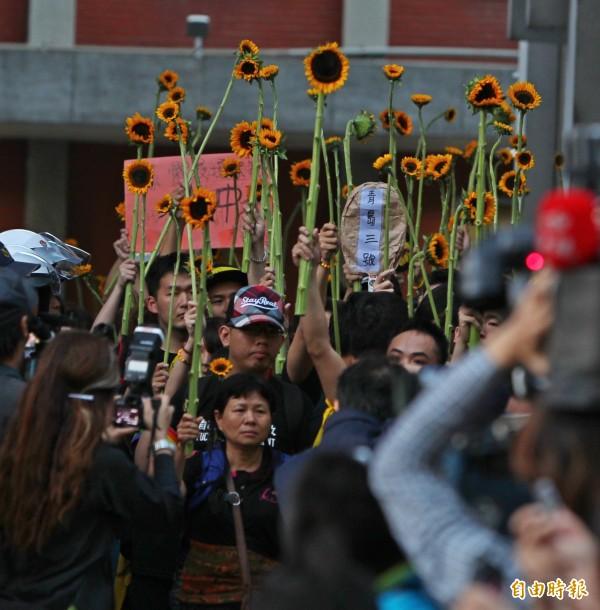 議場內學生高舉太陽花走出立法院。(資料照,記者陳冠備攝)