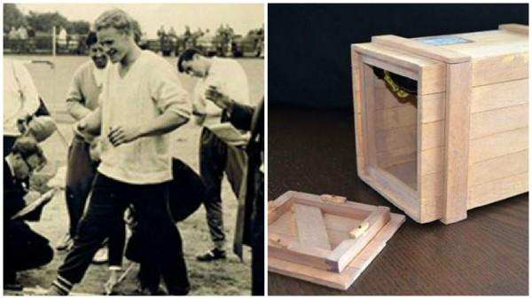 澳洲男子施皮爾斯忽發奇想,躲在木箱中假裝是貨物,將自己寄回澳洲,沒想到最後成功的不花一毛錢而回到澳洲。(圖取自英國都會報)
