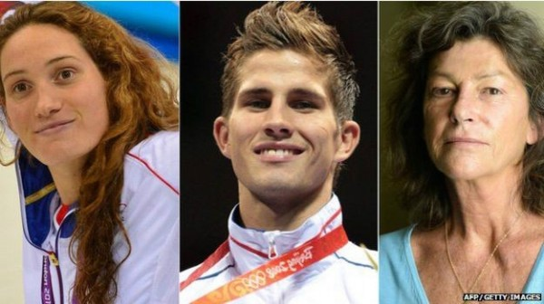 由右至左分別為57歲冠軍船手亞爾托、28歲奧運拳擊手瓦思庭和25歲奧運金牌游泳女將莫法特,3人皆在意外中喪生。(圖片擷取自「BBC」網站)