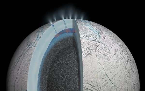 NASA研究人員發現,土星衛星土衛二的南極冰層底下,有著一片溫暖的海洋。(法新社)