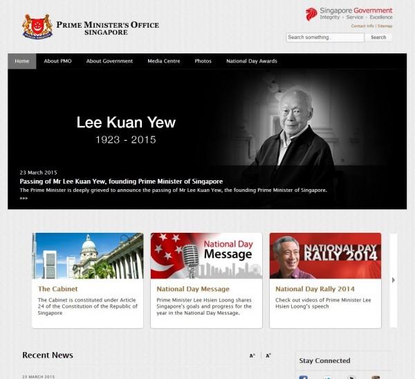 新加坡建國總理李光耀逝世,新加坡總理辦公室官網也更新首頁,悼念李光耀。(圖擷自新加坡總理辦公室官網)