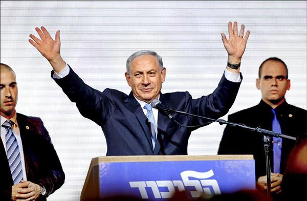 以色列總理納坦雅胡領導的右翼聯合黨,在十七日的國會大選中逆轉勝,擊敗中間偏左派的猶太復國運動聯盟,有望成為以國有史以來執政最久的總理。(路透)