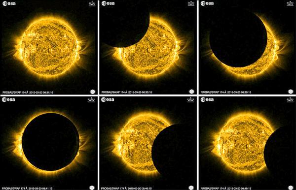 歐洲太空總署公布的日全蝕過程衛星照。(歐新社)