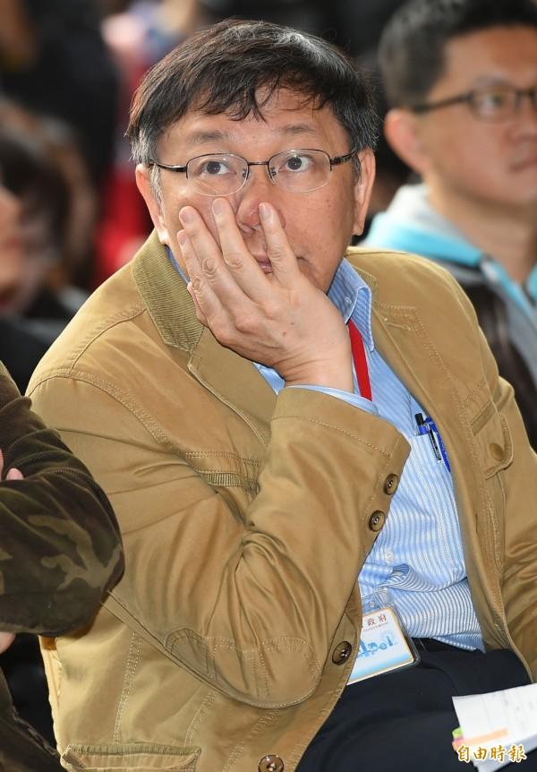 被問到柯家軍?台北市長柯文哲否認,並說「我看是姚家軍」。圖為柯出席「捷運聲音地景成果示範活動記者會」。(記者張嘉明攝)