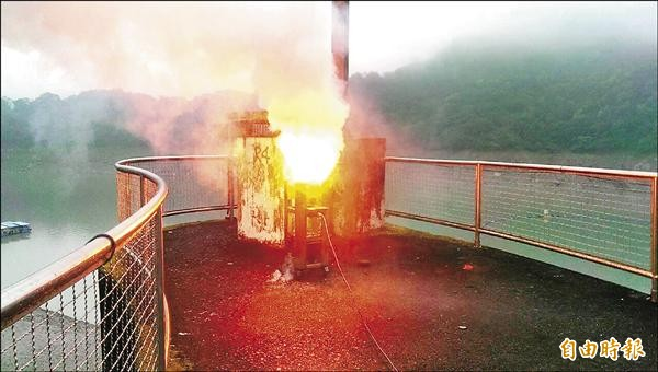 石門水庫管理中心昨實施人工增雨,共燃放五支焰劑,石門水庫加上下游三峽河進水量超過五○○萬噸,將可增供約六天水量。(記者林子翔攝)