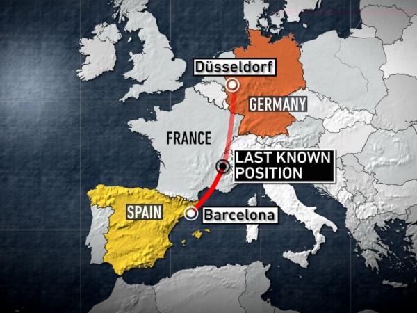 原訂今由西班牙巴塞隆納飛往德國杜賽道夫的A320客機,經過阿爾卑斯山南部時,突失去訊號失聯。(圖取自ABC NEWS)