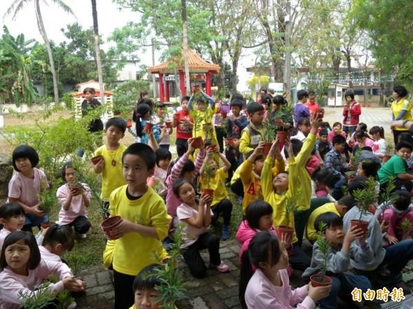 學童學習如何照顧小樹苗。(記者陳文嬋攝)