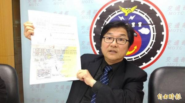 航港局局長祈文中公布海研五號失事航跡圖,確切評議報告下週出爐。(記者黃立翔攝)