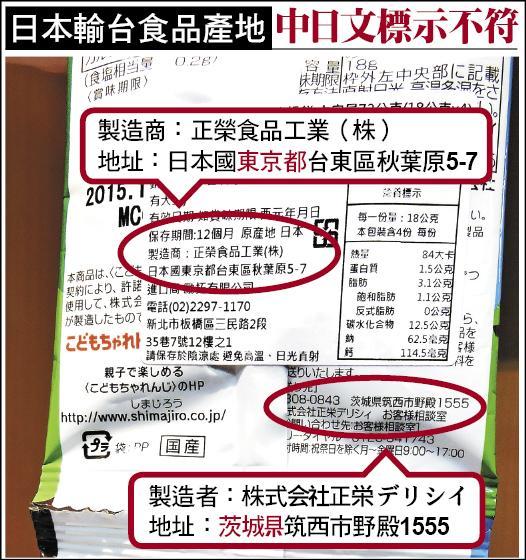 日本輸台食品產地 中日文標示不符