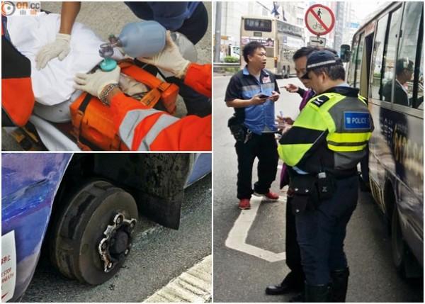 今天早上在香港居然發生一起離譜的意外車禍,一輛行駛而過的小巴士輪胎突然脫落,砸中了一旁等公車的婦人,導致婦人頭部重創送醫不治。(圖取自東方日報)