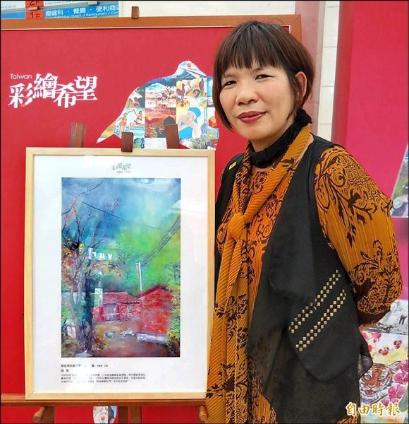 劉雅紛先後罹患三種癌症,她寄情繪畫沈澱心情。(記者蘇孟娟攝)