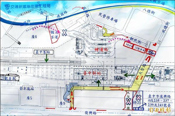 根據交通部鐵工局資料,圖中四處瓶頸若未解決,進出台中新站只能靠南側的十米道路。(記者張菁雅攝)