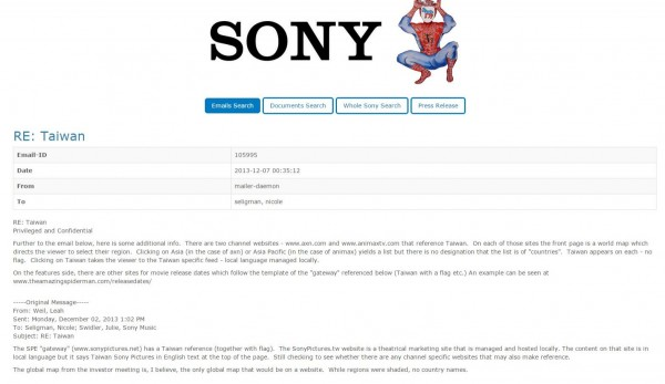 維基解密(wikileaks)16日在網站上公布索尼影業的內部郵件。(圖片擷取自維基解密)