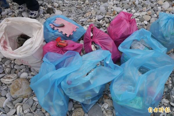 半小時近百公斤的垃圾量,讓志工直呼:「永遠撿不完!」(記者王峻祺攝)