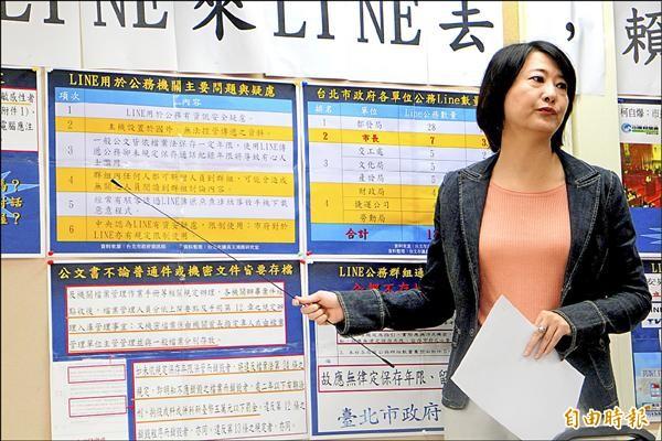 國民黨台北市議員王鴻薇質疑市府未管理LINE群組,機密資料恐外洩。(記者郭逸攝)