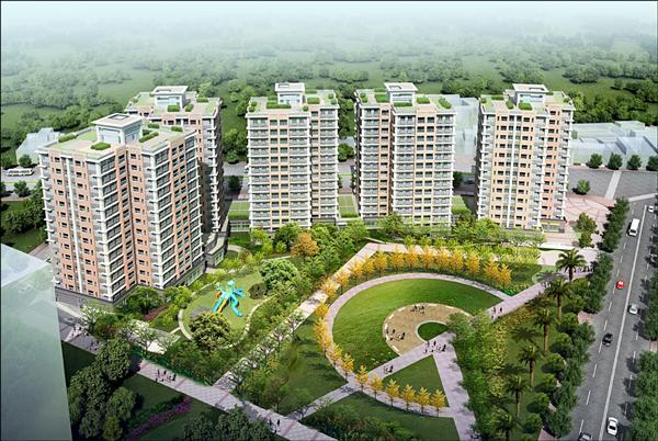北大安置住宅共五棟,今年底將完工。(新北市政府城鄉發展局提供)