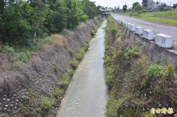 台東有民眾表示昨天晚上附近的水溝竟有帶惡臭化學味的混濁泥水,懷疑有工廠在排廢水,不過台東縣環保局上午到現場時,卻已經變得清澈無臭味。(記者王秀亭攝)