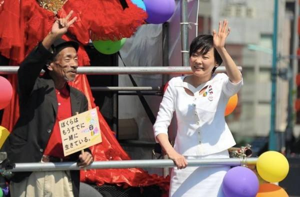 日本第一夫人安倍昭惠27日參加同志遊行,以行動表達對同志的支持。(圖擷自《Japan Daily Press》)