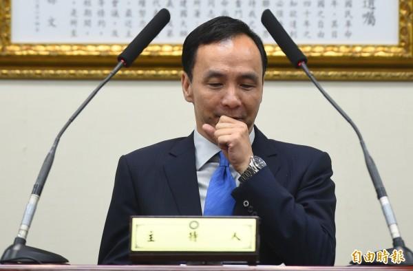 國民黨主席朱立倫(見圖)與中國政協主席俞正聲在國共論壇致詞時,皆提及「九二共識」為兩岸交流重要基礎。(資料照,記者張嘉明攝)