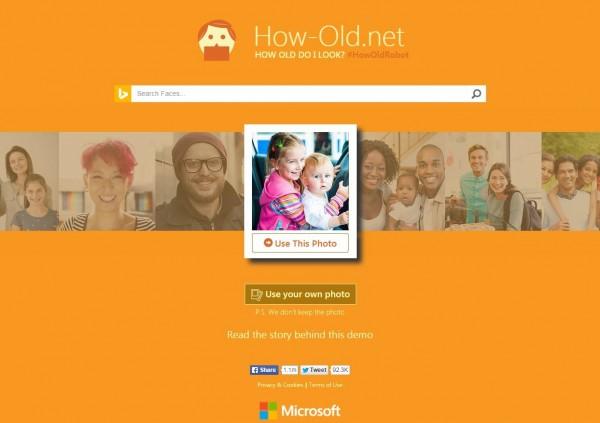 微軟新推出的網站「How-Old.net」,能從照片推測年齡,在社群網站掀起風潮。(圖片擷取自「How-Old.net」網站)