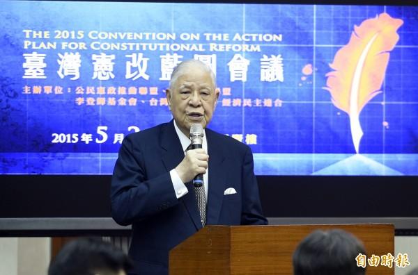 前總統李登輝昨出席「台灣憲改藍圖會議」,稱總統馬英九一直掛在嘴上的「九二共識」根本是「嚎哮話(台語,意旨胡說八道)」。(記者叢昌瑾攝)