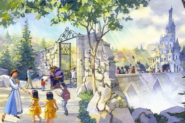東京迪士尼樂園《美女與野獸》園區構想圖。(圖取自東京迪士尼度假區官方網站)
