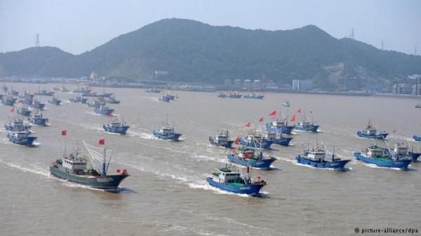 聲勢浩大的中國籍漁船。(圖片擷取自「德國之聲」網站)