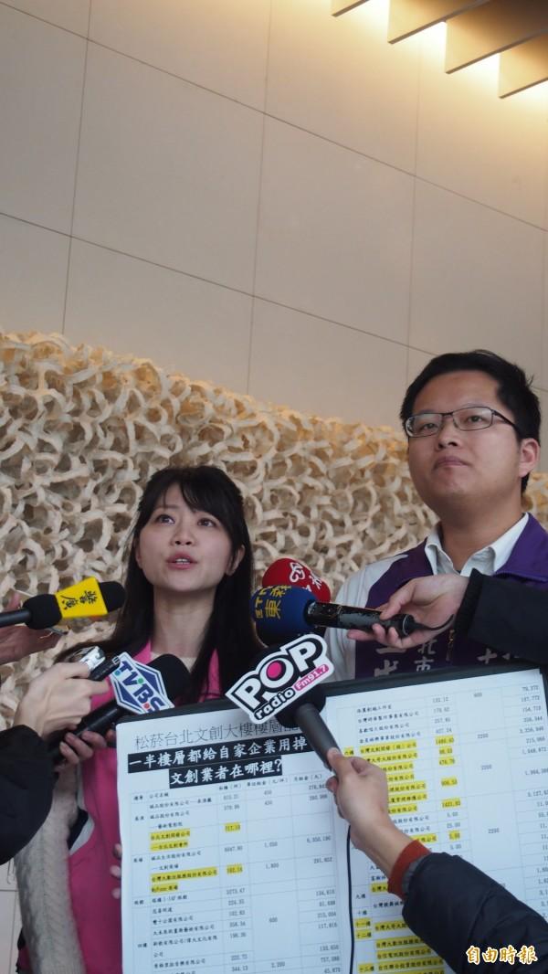 民進黨台北市議員高嘉瑜(左)、王威中質疑北捷廣告招標有中資,檢舉後投審會卻4個月都沒有進度。(資料照,記者蔡亞樺攝)