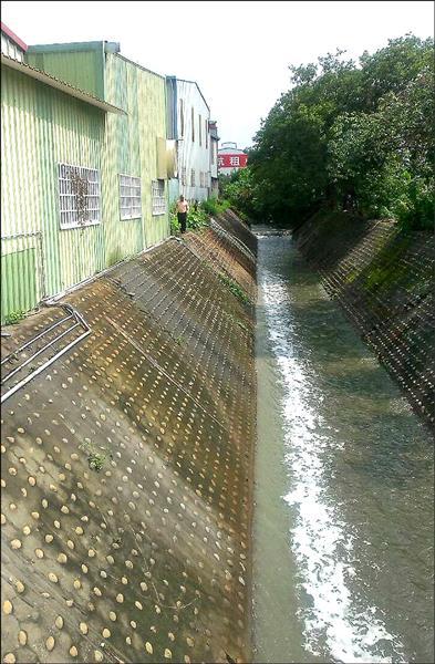 潭子區民族路排水溝疑遭不肖工廠業者偷排廢,水中出現一長條的白色水波。(記者歐素美翻攝)