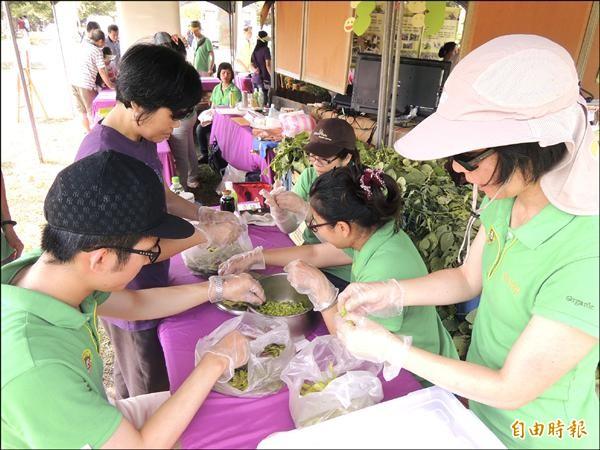 慈心基金會舉辦「雲林有機毛豆嘉年華」,工作人員現場剝毛豆仁,做成各種料理。(記者黃淑莉攝)