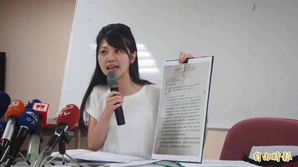 台北市議員高嘉瑜在去年市議員選舉中,不僅是港湖區最高票當選,更是全北市市議員得票數最高。(資料照,記者蔡亞樺攝)