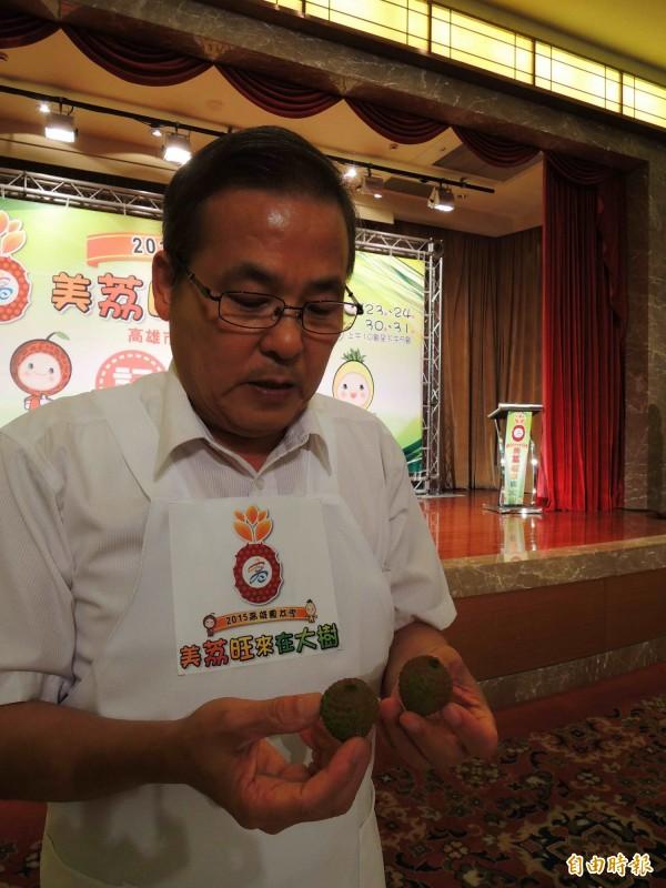 大樹區農會總幹事張清榮表示,今年缺水,玉荷包顆粒較小,但甜度更高。(記者黃旭磊攝)