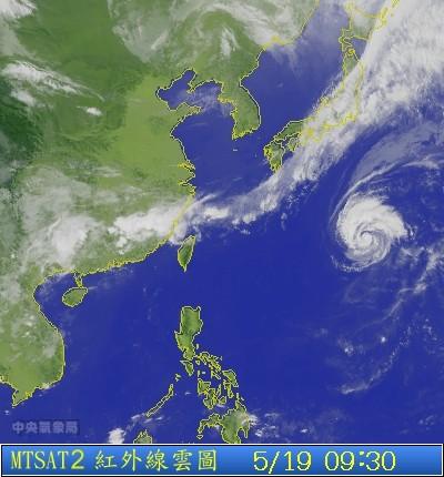 今年編號第7號中度颱風「白海豚」暫時對台灣沒有影響。(圖片擷取自氣象局)