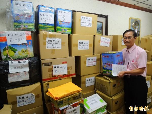 大統長基的偽油,仍堆滿台灣消保會辦公室。(記者葛祐豪攝)