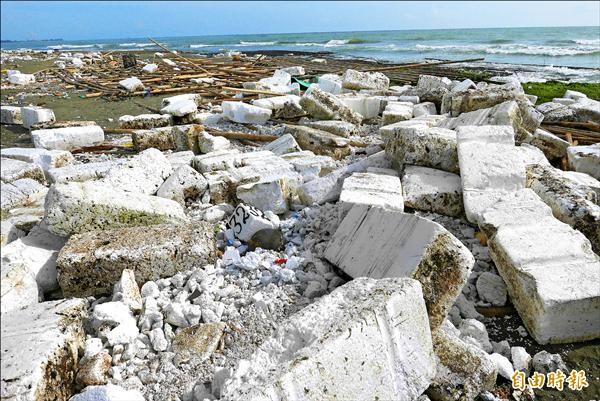 台南市四鯤鯓海岸到黃金海岸,全是保麗龍垃圾,成了一條「保麗龍海岸」。(記者蔡文居攝)